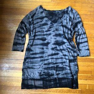 Black & Tan tie dye tunic tee with semi sheer back